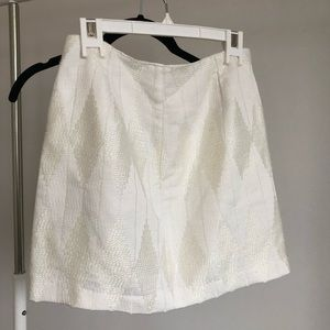 White High Waisted Skirt with Diamond Pattern